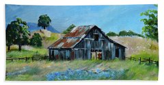 Beach Towel featuring the painting Bluebell Barn - Rustic Bar - Bluebellsn by Jan Dappen