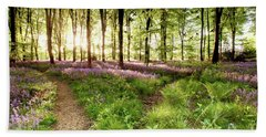 Bluebell Woods With Birds Flocking  Beach Towel