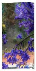 Bluebells In My Garden Window Beach Sheet