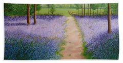 Bluebells With Butterflies Beach Towel