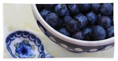 Blueberries And Spoon  Beach Towel by Carol Groenen