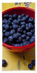 Blueberries In Red Bowl Beach Towel