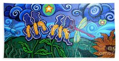 Bluebird Dragonfly And Irises Beach Towel by Genevieve Esson