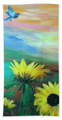Bluebird Flying Over Sunflowers Beach Towel