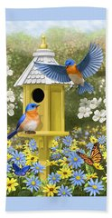 Bluebird Garden Home Beach Towel by Crista Forest