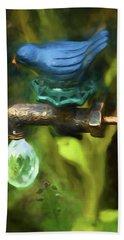 Bluebird Garden Ornament Beach Towel