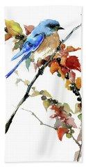 Bluebird In The Fall Beach Towel