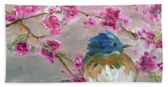 Bluebird On A Branch Beach Towel