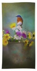 Bluebird With Bucket Of Flowers Beach Sheet