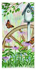 Bluebirds And Butterflies Beach Towel