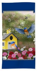 Bluebirds And Yellow Birdhouse Beach Towel by Crista Forest