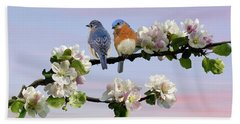 Bluebirds In Apple Tree Beach Towel