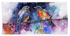 Beach Towel featuring the painting Bluebirds by Zaira Dzhaubaeva
