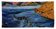 Blue,blue Ocean With Clouds Beach Towel