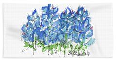 Bluebonnet Dance Watercolor By Kmcelwaine Beach Towel