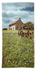 Beach Towel featuring the photograph Bluebonnet Fields by Linda Unger