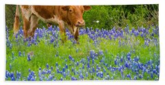 Bluebonnet Longhorn Beach Sheet by Inge Johnsson