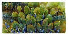 Bluebonnets And Cactus 2 Beach Towel