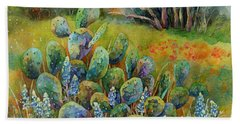 Bluebonnets And Cactus Beach Sheet
