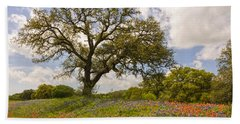 Bluebonnets Paintbrush And An Old Oak Tree - Texas Hill Country Beach Sheet