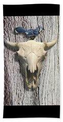 Bluejay And The Buffalo Skull Beach Towel