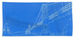 Blueprint Of Suspension Bridge Beach Towel