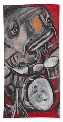 Blues Cat Drums Beach Towel