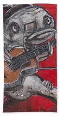 Blues Cat On Guitar Beach Towel