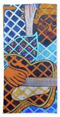 Beach Sheet featuring the painting Blues Guitar - Nine Strings by Denise Weaver Ross