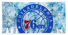 Beach Towel featuring the digital art bluish backgroud for Philadelphia basket by Alberto RuiZ