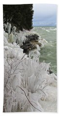 Blustery Lake Michigan Day Beach Sheet by Greta Larson Photography