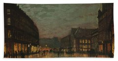 Boar Lane, Leeds, By Lamplight By John Atkinson Grimshaw. Beach Towel