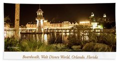 Boardwalk At Night, Walt Disney World Beach Sheet by A Gurmankin