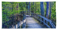 Boardwalk Going Into The Woods Beach Towel