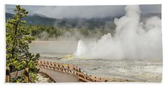 Beach Towel featuring the photograph Boardwalk Overlooking Spasm Geyser by Sue Smith