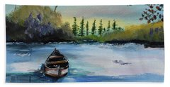 Beach Towel featuring the painting Boat Abandoned On The Lake by Jan Dappen