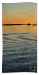 Boat And Dock At Dusk Beach Towel
