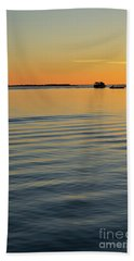 Boat And Dock At Dusk Beach Sheet