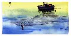 Boat And The Seagull Beach Sheet by Anil Nene