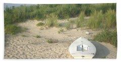 Boat At Chicks Beach Va Beach Chesapeake Bay Beach Sheet by Suzanne Powers