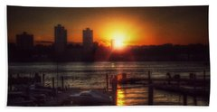 Beach Towel featuring the photograph Boat Basin Gold - Sunset In New York by Miriam Danar