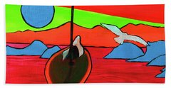 Boat, Bird And Moon Beach Towel by Jeanette French