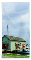 Beach Towel featuring the photograph Boat By Oyster Shack by Susan Savad