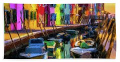 Boat Canal Beach Towel by Gary Grayson