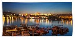 Boat Dock Near St. Vitus Cathedral, Prague, Czech Republic. Beach Towel