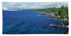 Boat Docks In Wintertime, Lake Tahoe Beach Towel