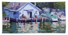 Boat House At Tonawanda Canal Beach Towel