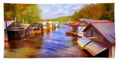 Boat Houses Beach Towel