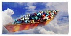 Boat In The Clouds Beach Towel
