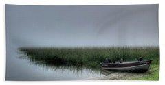 Boat In The Fog Beach Towel